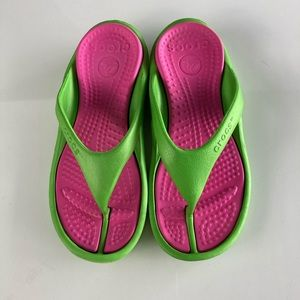 Pink and Green Crocs Flip-Flop Athens w10/m8